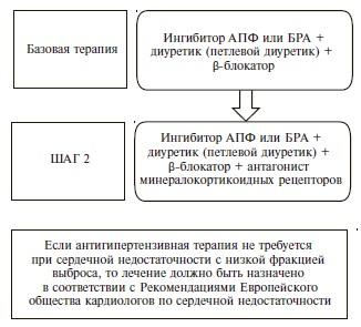 Медикаментозная терапия у пациентов с АГ и СН со сниженной ФВ ЛЖ
